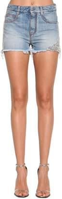 Ermanno Scervino Side Embellished Cotton Denim Shorts