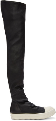 Rick Owens Black Stocking Sneak Tall Boots $1,875 thestylecure.com