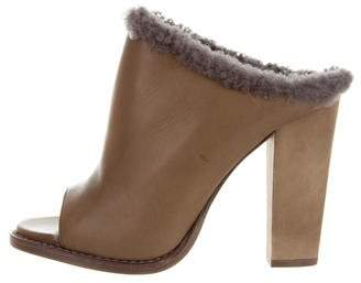 Brunello Cucinelli Shearling-Trimmed Leather Sandals w/ Tags
