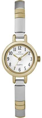 Timex Viewpoint by Women's 22mm White Dial Watch, Two-Tone Expansion Band