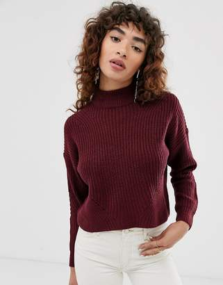 Only turtle neck cropped chunky knit jumper
