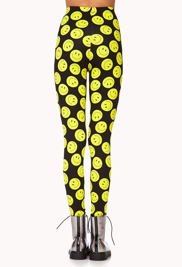 Forever 21 Bold Happy Face Leggings