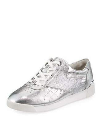 MICHAEL Michael Kors Addie Metallic Lace-Up Sneaker, Silver