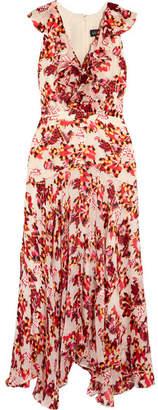 Saloni - Rita Ruffled Printed Devoré Satin And Chiffon Midi Dress - Red $595 thestylecure.com