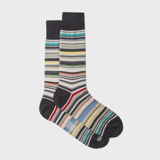 Men's Elephant Grey Signature Stripe Socks $30 thestylecure.com