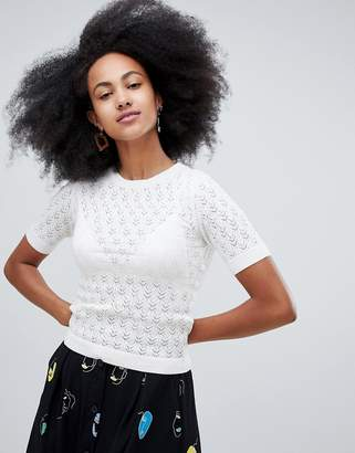 Monki knit top in white