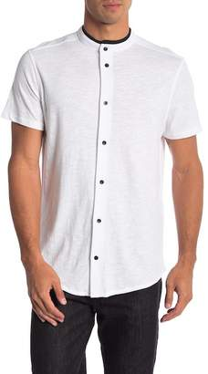 Karl Lagerfeld Short Sleeve Knit Button Down Henley Tee