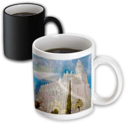 3dRose A Double Exposure of The St. George, Utah LDS Temple and The Flower Bed and Walk Way, Magic Transforming Mug, 11oz