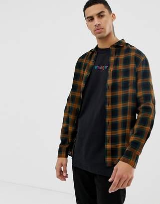 Wrangler 1 pocket check shirt in spruce green