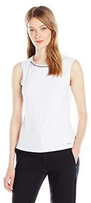 Calvin Klein Women's Matte Jersey Sleeveless Top with Chain Detail at Neckline