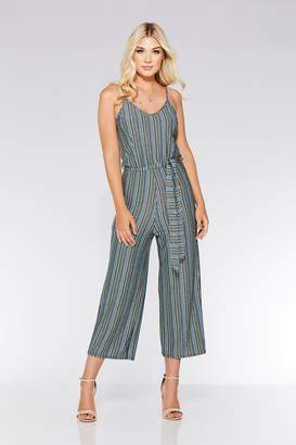 d2885aefa00f Quiz Blue And Green Glitter Stripe Culotte Jumpsuit