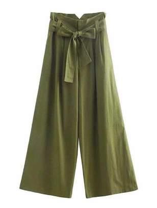 Goodnight Macaroon 'Mercilla' Paper Bag Belted Wide Leg Pants