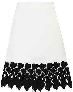 David Koma Lace-trimmed cady skirt