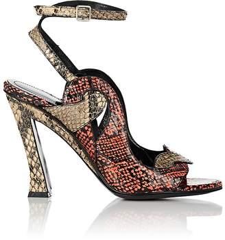 Dries Van Noten Women's Angled-Heel Stamped Leather Sandals