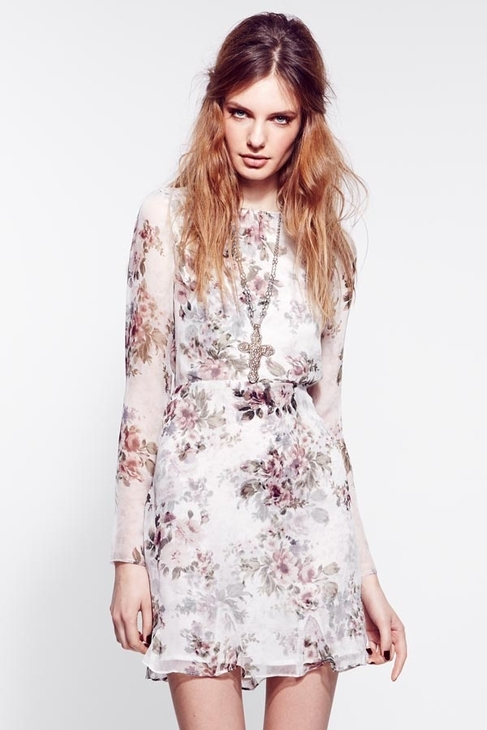 For Love & Lemons Pure Dress in Ivory Floral