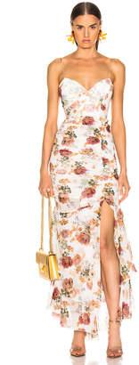 Nicholas Floral Drawstring Dress in White | FWRD