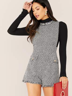 Shein Raw Trim Sleeveless Tweed Romper Without Top