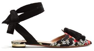 Aquazzura Love Tassel Cherry Blossom Print Flats - Womens - Black Multi