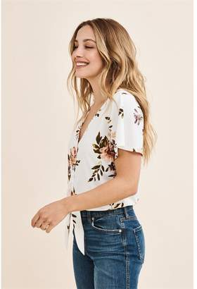 Dynamite Flutter Sleeve Top With Front Tie White W/ Pink Floral