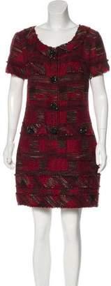 Oscar de la Renta Tweed Raw-Edge Wool-Blend Dress