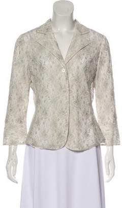 Armani Collezioni Lace Notched-Lapel Top