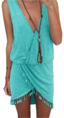 e97a0e410ec1c Rusinll-Placte New Summer Beach Dress Women Tunic Tassel Cover-Up Bikini  Cover Up