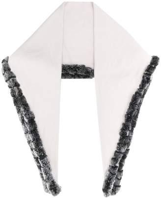 3812b8641 N.Peal fur edge triangular scarf