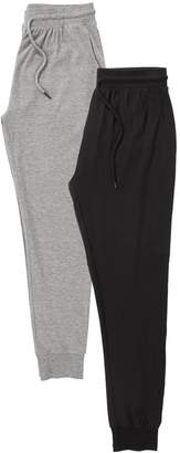 Next Mens Black/Grey Jersey Cuffed Long Bottoms Two Pack - Black