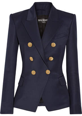 Balmain - Double-breasted Wool-twill Blazer - Navy $1,790 thestylecure.com