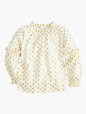 J.Crew crewcuts by Girls' Elaine Bubble Sleeve Top, White