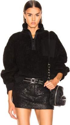 Alexander Wang Fleece Half Zip Turtleneck Sweater in Black   FWRD