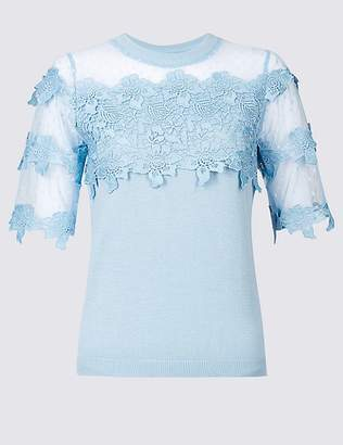 Marks and Spencer Cotton Bend Lace Round Neck Jumper