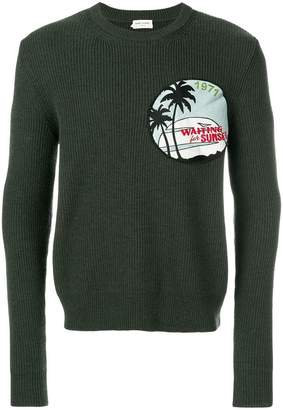Saint Laurent patch ribbed sweater
