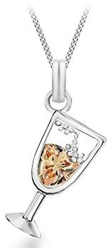 Tuscany Silver Sterling Silver Crystal Champagne Glass Pendant on Curb Chain of 41cm/16""
