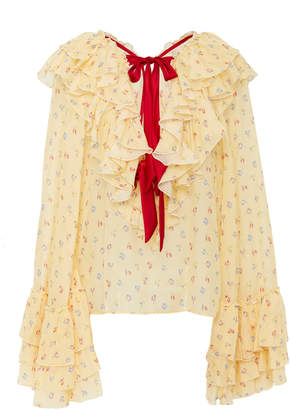 Rodarte Floral Silk-Chiffon Blouse