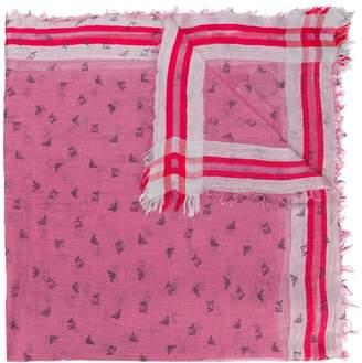 Emporio Armani logo frayed scarf