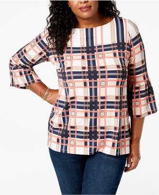 Charter Club Plus Size Printed Bell-Sleeve Top