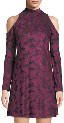 Maggy London Mock-Neck Velvet Devore Dress