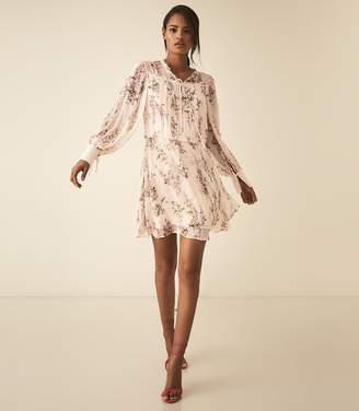 Reiss LUCCA FLORAL SMOCK DRESS Floral White