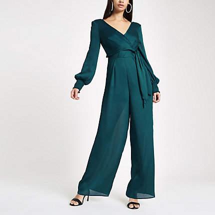 Womens Blue wrap front wide leg jumpsuit