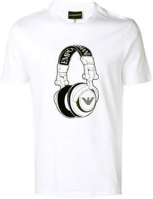 Emporio Armani headphones print T-shirt