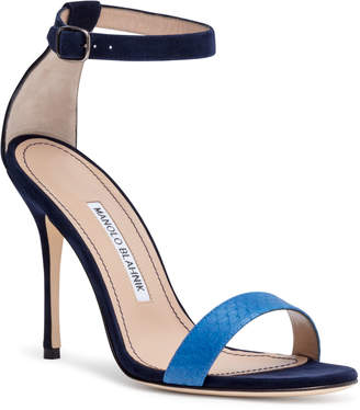 Manolo Blahnik Chaosbic 105 Blue Suede Snakeskin Sandals