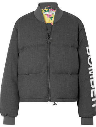 Off-White Printed Wool-blend Down Bomber Jacket - Gray