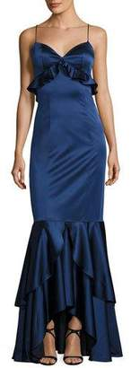 Sachin + Babi Anna Sleeveless Stretch Satin Ruffle Gown