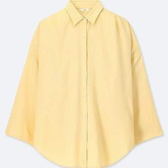 Uniqlo Women's Linen Blended 3/4 Sleeve Blouse