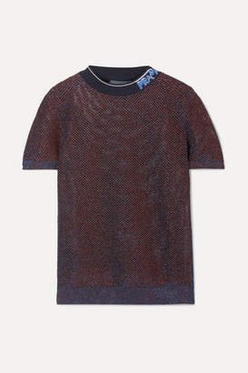 Prada Intarsia-trimmed Metallic Knitted Top - Blue