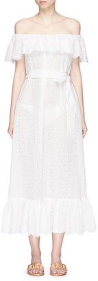 Marysia Victoria' ruffle overlay broderie anglaise off-shoulder dress $650 thestylecure.com