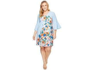 Donna Morgan Plus Size Placement Floral Print Shift Dress with Bell Sleeve Women's Dress
