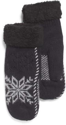 Wool Faux Angora Snowflake Mittens