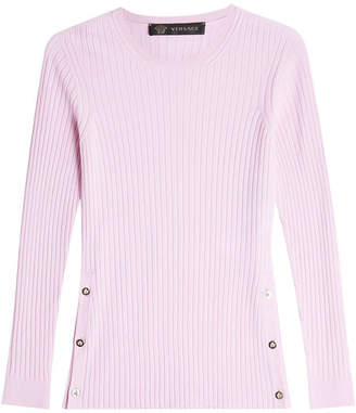 Versace Ribbed Wool Pullover with Buttoned Sides